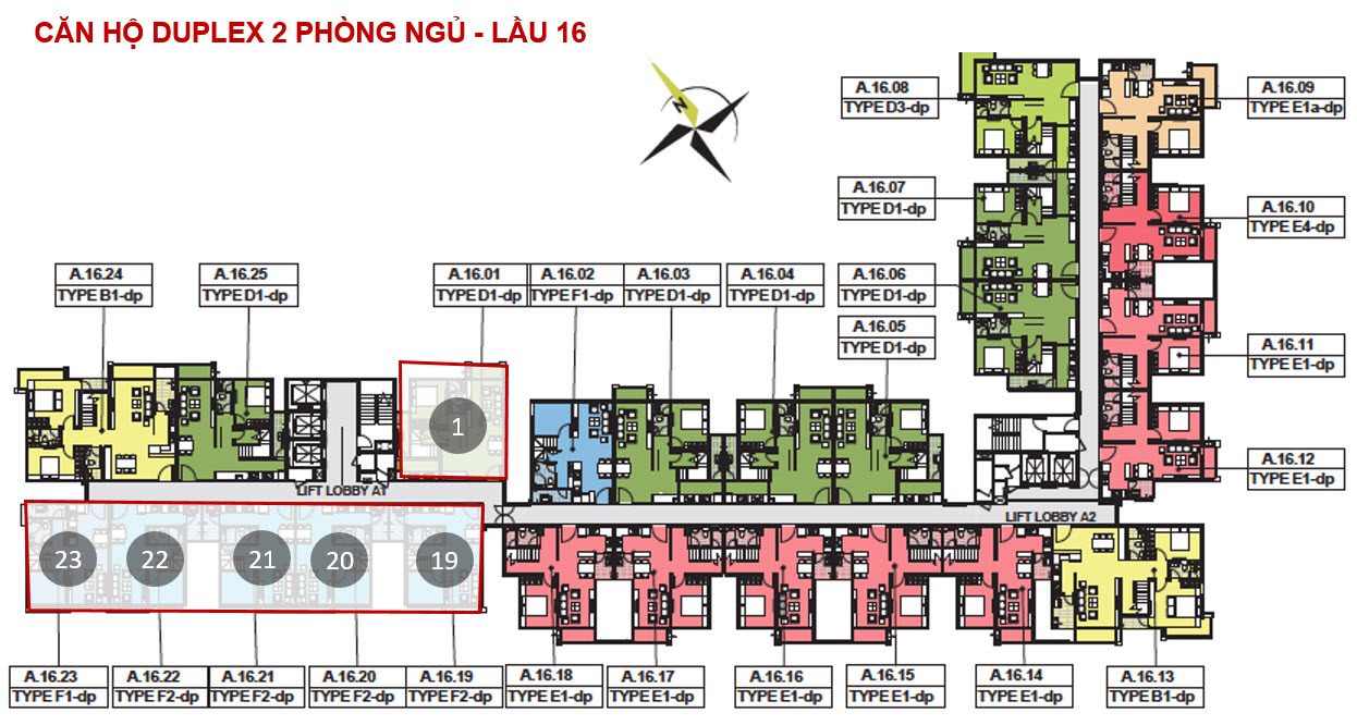 mat bang tong the can 2 phong ngu emerald duplex