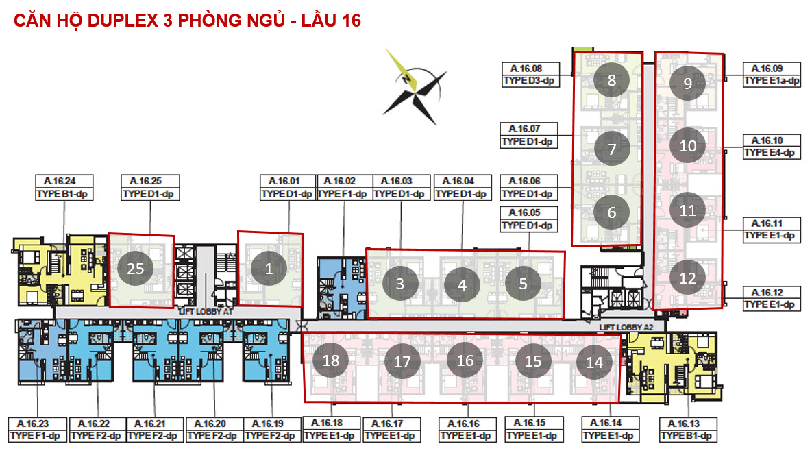 mat bang tong the can 3 phong ngu duplex emerald celadon city