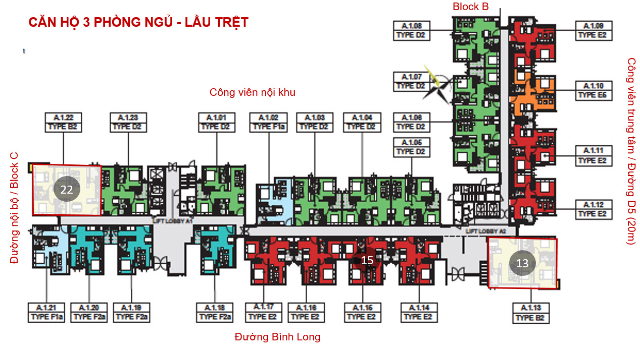 mat bang tong the can 3 phong ngu emerald celadon city
